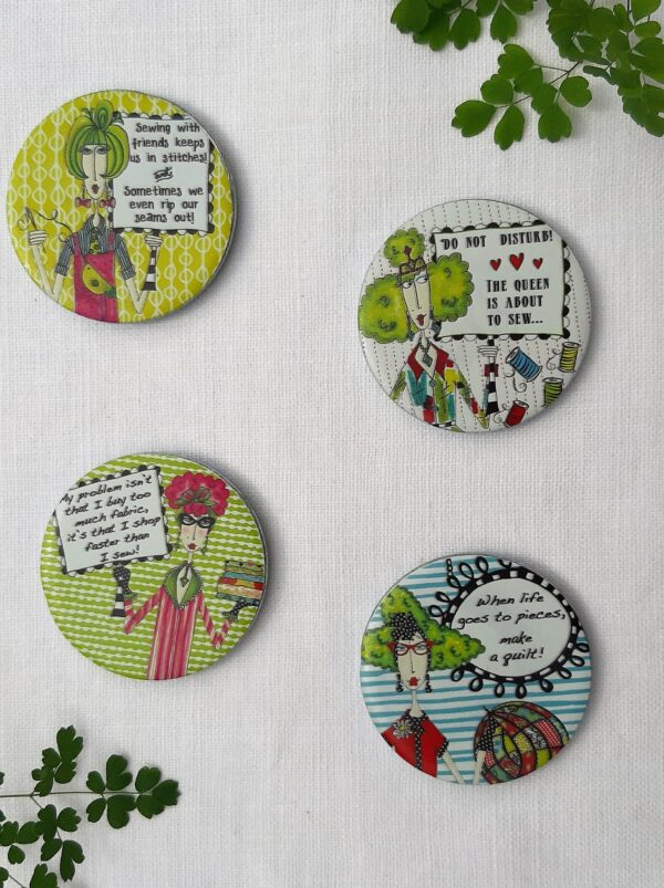4 pattern weights with sewing themed querky sayings