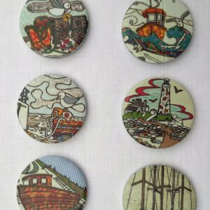A set of 6 pattern weights designed by Amelia Bowman on a seaside theme