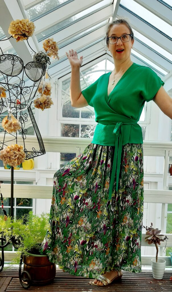 Pippa titting about in a zadie wrap top and maxi skirt